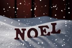 Stock Photo of Card With Snow And Word Natal Mean Christmas, Snowflakes