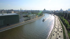 Aerial view of popular landmark - Kremlin, Moscow Stock Footage