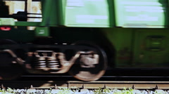 Two wheels of an oncoming train. Close up. Stock Footage