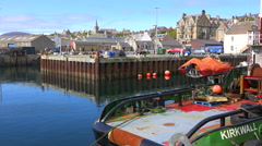 Establishing shot of the port at Stromness, Orkney Islands, Scotland. Stock Footage