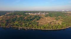 Khortytsya wooden castle - October 4: Aerial view:  overall plan of Khortytsya w Stock Footage