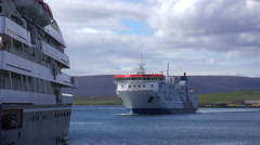 A ferry boat arrives at the Orkney islands, Scotland. Stock Footage