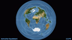 Animated world map in the Azimuthal Equidistant projection. Blue Marble raster. Stock Footage