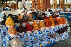 Dried fruits and sweets in the bazaar of Yerevan market, Armenia Stock Photos