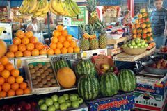 Fruits in the bazaar of Yerevan market, Armenia Stock Photos