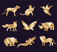 Animal zoo vector icons set - stock illustration
