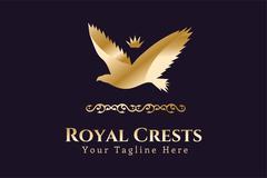 Royal logo vector Eagle Kings symbol - stock illustration