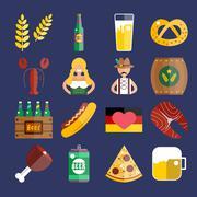 Set of flat Oktoberfest vector icons. Bottle Beer, Food and Drinks - stock illustration
