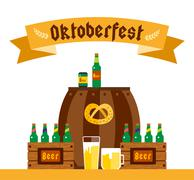 Oktoberfest celebration vector background poster - stock illustration