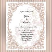 Wedding card template with frame and elegant design - stock illustration