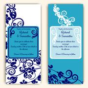 Wedding cards with blue with swirls - stock illustration