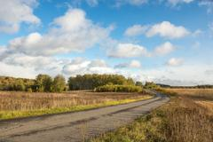 country road and cumulus clouds over the retracted fields - stock photo