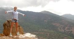Girl Enjoys Spanish Mountains Stock Footage