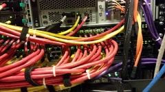 Network switch with blinking lights Stock Footage