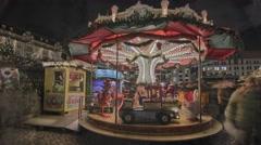 Striezelmarkt Dresden Christmas Market Timelapse Germany 18 Stock Footage