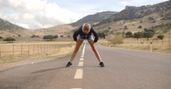 Fitness Lady Doing Stretch ups Stock Footage