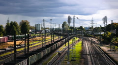 Freight train with coal cargo Stock Footage