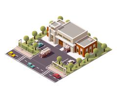 Vector isometric fire station - stock illustration