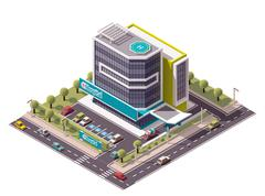 Vector isometric hospital - stock illustration