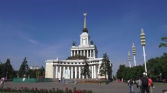 The Central Pavilion (in 4k) in VDNKh, Moscow, Russia. Stock Footage