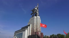 The Worker and Kolkhoz Woman Monument (in 4k) located just outside VDNKh, Moscow Stock Footage