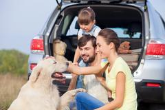 Cheerful family with puppy near vehicle in meadow Stock Photos