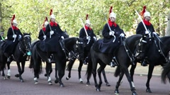 Royal Guard on horse walking in parade Stock Footage