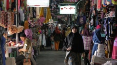 Shopping alley towards Ampel mosque,Surabaya,Java,Indonesia Stock Footage