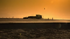 Sankt Peter Ording beach, Germany, at sunset Stock Footage