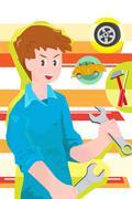 Stock Illustration of Car mechanic