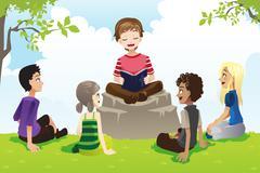 Stock Illustration of Kids studying bible