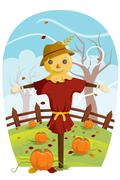 Scarecrow for Fall harvest - stock illustration