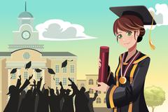 Graduation girl holding diploma - stock illustration