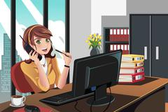 Businesswoman working in the office Stock Illustration