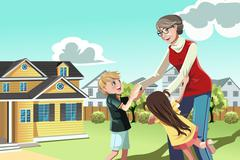 Grandmother playing with grandchildren - stock illustration