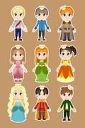 Prince and princess characters - stock illustration