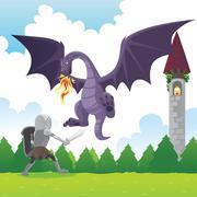 Stock Illustration of Knight fighting dragon