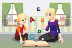 Mother teaching her child - stock illustration
