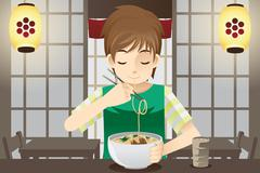 Boy eating noodle - stock illustration