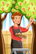 Harvesting an idea tree Stock Illustration
