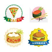 International gourmet food icons - stock illustration