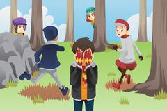 Kids playing hide and seek Stock Illustration