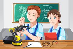 Students in class - stock illustration