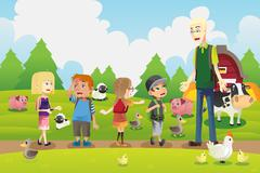 Stock Illustration of Kids on a field trip to a farm