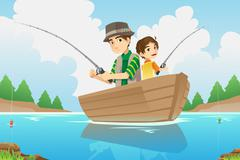 Father and son fishing Stock Illustration