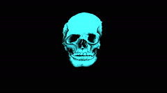 Stock Video Footage of Vj Loops Skull Skeleton X Rays Head Art Animation Background