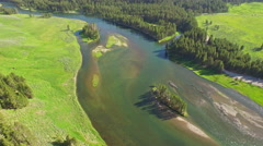 Aerial Wyoming Yellowstone National Park Stock Footage