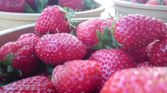 Natural strawberries in Turkish bazaar (close up) Stock Footage