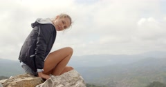 Portrait of Blond Woman, She Enjoys Mountain Stock Footage