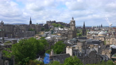 An establishing shot of clouds over the Edinburgh, Scotland skyline. Stock Footage